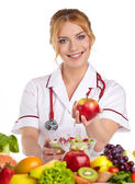 Doctor dietitian recommending healthy food — Foto de Stock