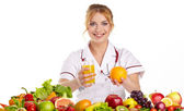 Doctor dietitian recommending healthy food — Stockfoto