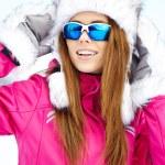 Caucasian woman wearing ski goggles — Stock Photo #50686009