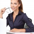 Business woman with a laptop — Stock Photo