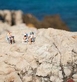 Miniature couple at beach — Stock Photo