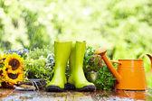 Gardening tool in rain — Stock Photo