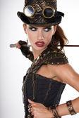 Steampunk woman golf player — Stock Photo