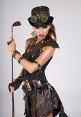 Steampunk woman golf player — Stock Photo