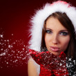 Portrait of beautiful sexy girl wearing santa claus clothes on r — Stock Photo #6685273