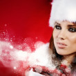 Portrait of beautiful sexy girl wearing santa claus clothes — Stock Photo #7355086