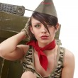 Beautiful young army pin up model — Stock Photo #8533386