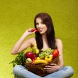 Happy young woman with vegetables. — Stock Photo #9587602