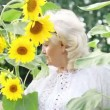 Stock Video: Woman in sunflowers