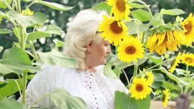 Beautiful middle-aged woman in sunflowers