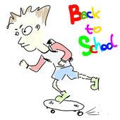 男孩-回校上滑板 — 图库矢量图片