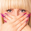 Young beautiful blonde with a nice manicure — Stock Photo