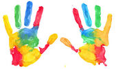 Multicolored hand print — Stock Photo