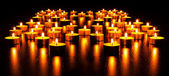 Panorama of the many burning candles — Stock fotografie