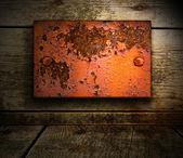 Fond en bois avec insert métallique — Photo