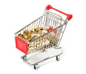 Shopping Cart with coins — Stock Photo