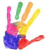 Close up of colored hand print on white — Stock Photo