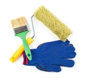 Tool Kit: paint roller, paint brush, work gloves — Stock Photo