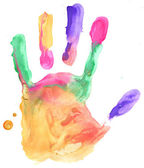 Colored hand print on white background — Stock Photo