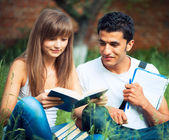 Two students studying in park on grass with book outdoors — Stock Photo