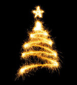 Christmas tree made by sparkler — Stock Photo