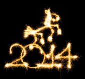 2014 and horse made a sparkler — Foto de Stock