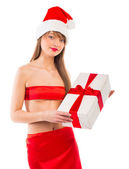 Beautiful Santa christmas girl with gift isolated on white — Stockfoto