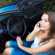 Caucasiwomtalking on phone in cabriolet car — Stock Photo #36975813
