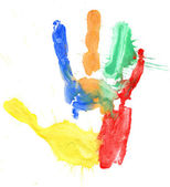 Close up of colored hand print on white — Stockfoto