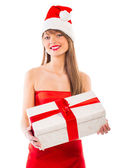 Beautiful Santa christmas girl with gift isolated on white — Foto de Stock