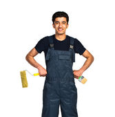 Repairman Arab nationality in the construction overalls on a whi — Stock Photo
