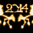 Happy New Year - 2014 and horse made a sparkler on black — Stock Photo #37551985