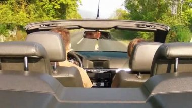 Riding on a cabriolet car — Stock Video