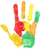 Nahaufnahme der farbige hand druck auf weiß — Stockfoto