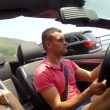 Guy with a girl in a cabriolet — Stock Video