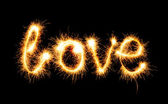 Valentines Day - Love made a sparkler on black — Stockfoto