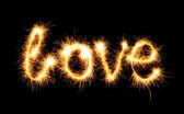 Valentines Day - Love made a sparkler on black — Φωτογραφία Αρχείου