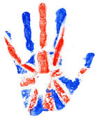 Handprint of a Great Britan flag on a white — Stock Photo