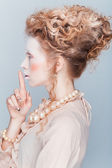 Beauty portrait in style of Maria Antuanetta — Stock Photo