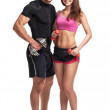 Athletic man and woman with dumbbells on the white background — Stock Photo #49952677