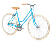 Stylish womens blue bicycle isolated on white — Stock Photo