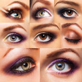 Collection beautiful womanish eye with glamorous makeup — Stock Photo