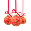 Three red Christmas balls in a row — Stock Photo #7590252