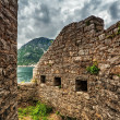 Old wall with windows seaview — Foto Stock