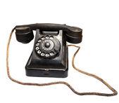 Vecchio telefono nero — Foto Stock