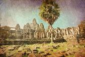 Templo khmer antigo do budista em estilo retro — Fotografia Stock