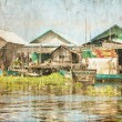 Stock Photo: The village on the water in retro style