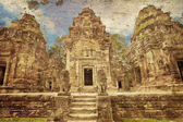 Ancient buddhist khmer temple in retro style — Stock Photo