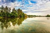 夏天湖附近日落 — 图库照片