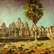 Stock Photo: Ancient buddhist khmer temple in retro style